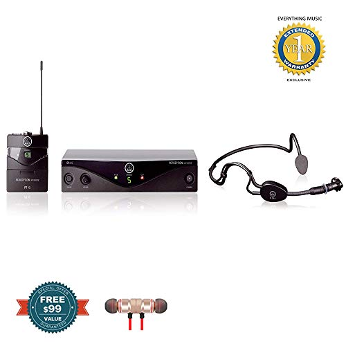 AKG Pro Audio Wireless Microphone System includes Free Wireless Earbuds - Stereo Bluetooth In-ear and 1 Year Everything Music Extended Warranty ()