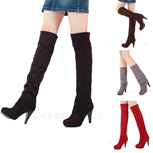 Nonbrand Women's Stiletto Heel shoes over knee high heels thigh length boots Grey yvQC1