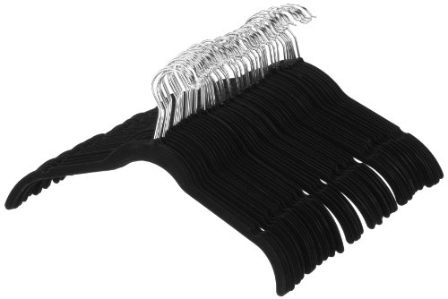 AmazonBasics Velvet Shirt/Dress Hangers – 50-Pack, Black