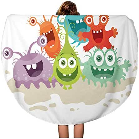 Semtomn 60 Inches Round Beach Towel Blanket Cartoon Monsters Funny Smiling Germs Character Big Eyes Travel Circle Circular Towels Mat Tapestry Beach Throw