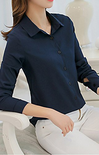 Manches Automne Jeune Chemises Longues Femmes Shirts Hauts Tunique Mode Tops Blouses et Printemps Tee Slim Revers Marin Bleu Casual Chemisiers 0FgBw
