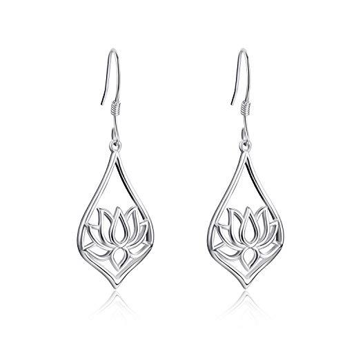 WINNICACA Lotus Earrings Sterling Silver Lotus Flower Drop Earrings Yoga Jewelry for Women Girls Gifts
