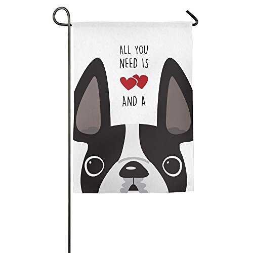 Hfdream Boston Terrier Dog Home Flag Seasonal Garden Flag Printed Outdoor Flags Cool Yard Flag