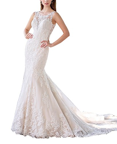 Nicefashion Women's Vintage Lace Applique Trumpet Chapel Train Keyhole Open Back Wedding Gown Ivory US14