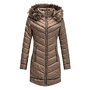 Bellivera Puffer Jacket Women,Lightweight Padding Bubble Hooded Coat with Fur Collar Warmth Outerwear for Spring Fall…
