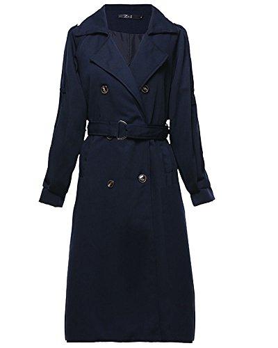 Windbreaker Womens Belted Parka Coat Sleeve Double Casual Long Moollyfox Navy Breasted Long WgnHq6vvF