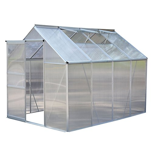 Giantex 8.2×6.2Ft Greenhouse Aluminum Frame All Weather Walk-In Heavy Duty Polycarbonate