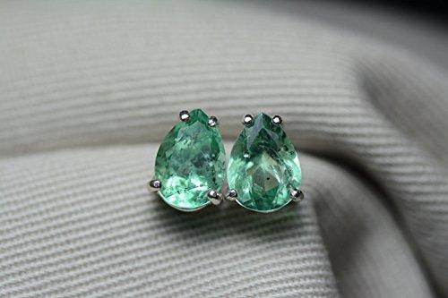 - 2.99 Carat Natural Colombian Pear Cut Emerald Stud Earrings In Sterling Silver Appraised