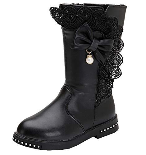 DADAWEN Girl's Waterproof Lace Bowknot Side Zipper Fur Lined Tall Winter Boots (Toddler/Little Kid/Big Kid) Black US Size 12 M Little Kid