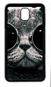 Animal Dark Cat Wear Glasses Fit Samsung Galaxy Note 3 N9000 Black Rubber Material Cover