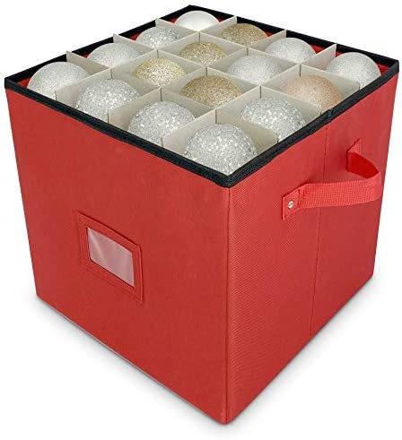 Christmas Ornament Storage - Stores as much as 64 Holiday Ornaments, Adjustable Dividers, Covered Top, Two Handles. Attractive Storage Box Keeps Holiday Decorations Clean and Dry for Next Season. (Red)