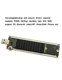 Adaptador NVME a USB, USB 3.1 Gen 2 M.2 PCIe M Key SSD a tarjeta tipo A, lector de disco duro M.2 compatible con Windows XP   7 8   10, MAC OS, con m.2 disipador de calor y interruptor de toque.