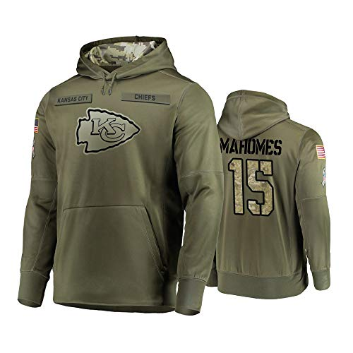 Dunbrooke Apparel Kansas City Chiefs #15 Patrick Mahomes Mens Salute to Service Hoodie - Olive XL (Kansas City Chiefs Salute To Service Gear)