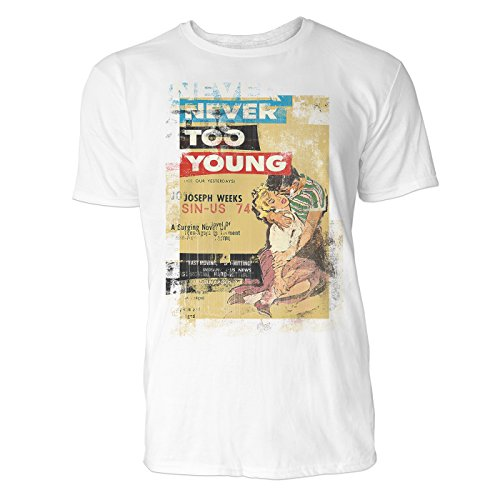 SINUS ART® Never Too Young Herren T-Shirts stilvolles weißes Fun Shirt mit tollen Aufdruck