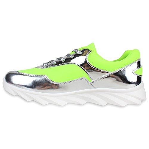 Stiefelparadies Damen Laufschuhe Sportschuhe Metallic Sneaker Low Glitzer Schuhe Profilsohle Lack Runners Trainers Neon Sneakers Turnschuhe Flandell Neongrün Silber Metallic