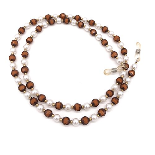 Acrylic Pearl Bead Beaded Eyeglass Chain Holder Sunglass Strap Holder Eyewear Retainer Lanyard Cord for Women (Brown) (Silver Beaded Eyeglass)