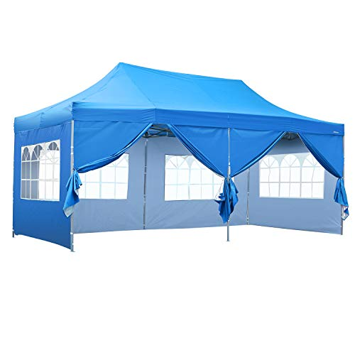 Outdoor Basic 10x20 Ft Wedding Party Canopy Tent Pop up Heavy Duty Instant Gazebo with Removable Sidewalls and Windows ()