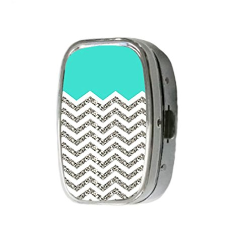 chevron-pattern-turquoise-grey-customize-unique-silver-square-pill-box-medicine-tablet-organizer-or-