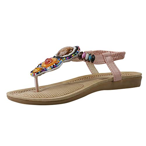 ◕‿◕ Watere◕‿◕ Women's Elastic Band Rhinestone Beaded Flat Bottom Bohemian Beach Shoes Roman Style Casual Shoes Sandals Pink]()