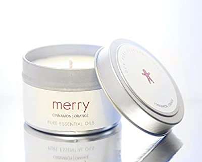 The Pure Candle * HOLIDAY CANDLE MERRY CANDLE, Vegan Candle * Aromatherapy Soy Candle, Scented Candle with CINNAMON ORANGE Pure Essential Oils Candle, Made in USA, VEGAN Certified