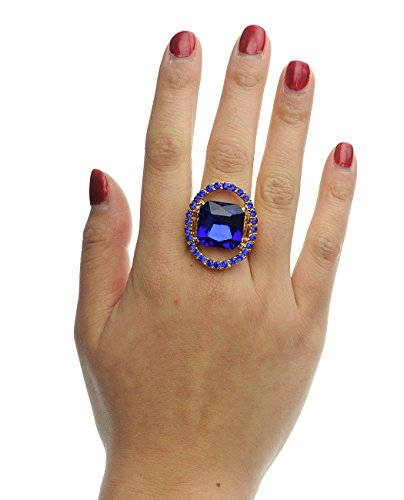 Gold Tone Rhinestone Ring (Rhinestone Stud Encircled Cushion Cut Stone Fashion Stretch Ring, Royal Blue,)