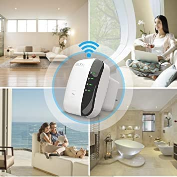 Super Boost WiFi, WiFi Signal Booster, WiFi Range Extender 300Mbps Repeater 2.4G Network with Integrated Antennas LAN Port & Compact Designed Internet Booster