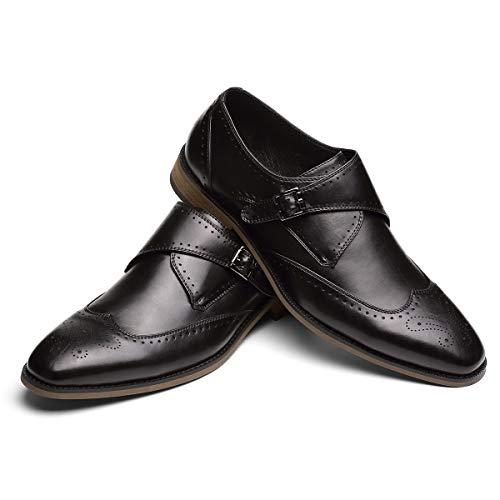 GM GOLAIMANMen'sDressShoes-SingleMonkStrapSlip-OnLoafersWingtipFullBrogueShoes Black 12 D (M) US