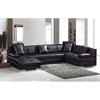 3334 Black Ultra modern sectional sofa