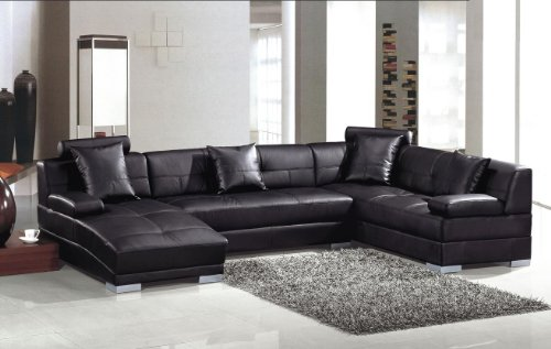 3334 Black Ultra modern sectional - Ultra Modern Sectional Leather