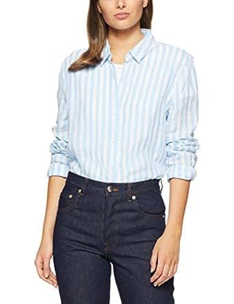French Connection Women's Linen Button Through Shirt, Summer White/Seablue, Eight