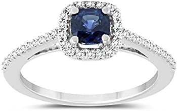 Cushion Sapphire and Diamond Halo Engagement Ring