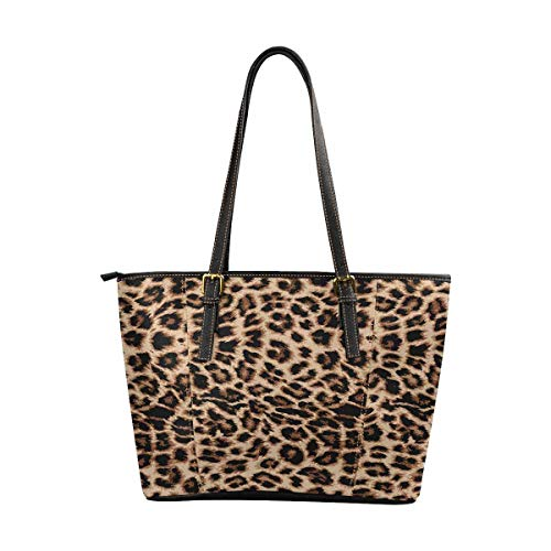 InterestPrint Women Tote Bags Top Handle Handbags PU Leather Purse Leopard Print