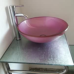 Lavabo set rosa de vidrio templado para lavabo y lat n for Lavabo vidrio