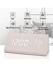 fomobest LED Wecker Wiederaufladbar Holz Tischuhr Klein Standuhr Datum/Temperatur/Feuchtigkeit Anzeige Digital Wecker