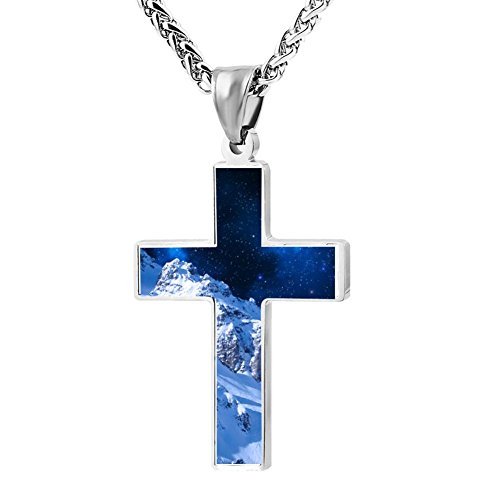 Gjghsj2 Cross Necklace Pendant Religious Jewelry Snowy Mountain Sky For Men Wome ()