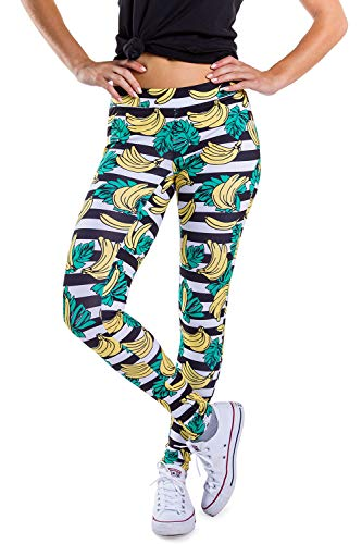 (Tipsy Elves Women's Yoga Workout Pants and Fitness Workout Leggings (Banana Bunch, Small))
