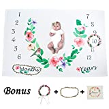 Ghome Baby Monthly Milestone Blanket 1-2 Years Old Babies Props Shoots Backdrop Made of Fleece, Gift for Newborn Shower&New Mom 40''X60'' … (Flower)
