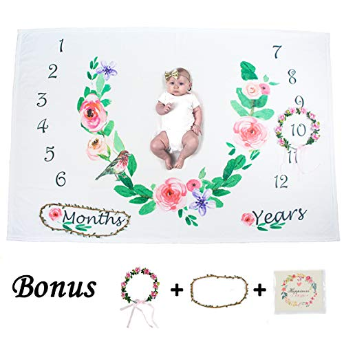 Ghome Baby Monthly Milestone Blanket 1-2 Years Old Babies Props Shoots Backdrop Made Fleece, Gift Newborn Shower Mom 40