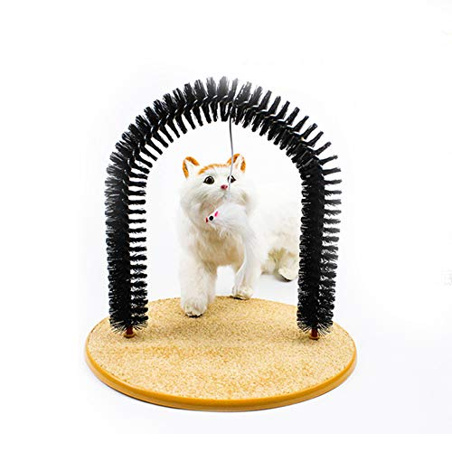 QCWN Cat Scratcher Grooming Arch, Pet Self Groomer Massager with Funny Toy, Gentle Fur Brushing for...