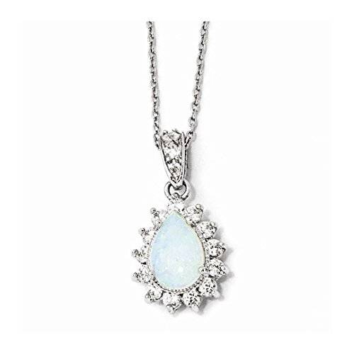 Cabochon Opal Cross - 925 Sterling Silver Cubic Zirconia Cz Lab Created Opal Pear Shaped Chain Necklace Pendant Charm Fine Jewelry For Women Gift Set