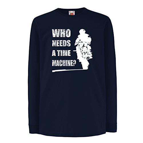 T-Shirt for Kids My time Machine! Motorcycle Apparel Motorcycle Art Suits (3-4 Years Blue Multi Color)