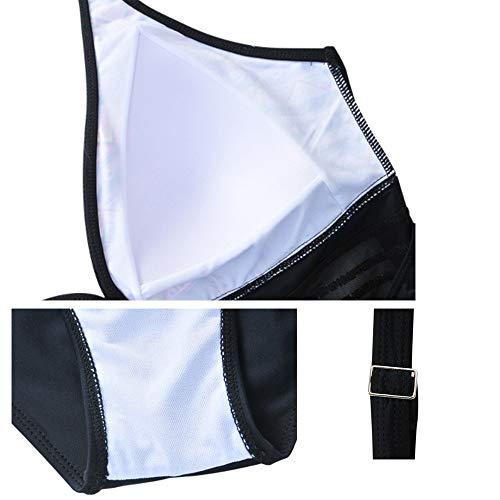 Da Senza Size Nero Reggiseno Con Stampa Maniche Imbott Scollo Bagno Costume Control Intero Profondo Monokini Tummy Plus HaOdWzx