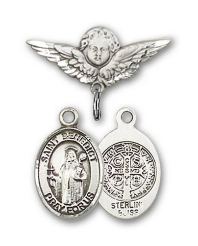 Icecarats Créatrice De Bijoux En Argent Sterling St. Benoît Charme Ange Pin Badge 7/8 X 3/4