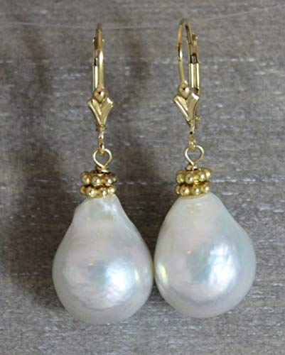 - Baroque Cultured Freshwater Pearl Drop Leverback Earrings in 14kt Gold Filled 001