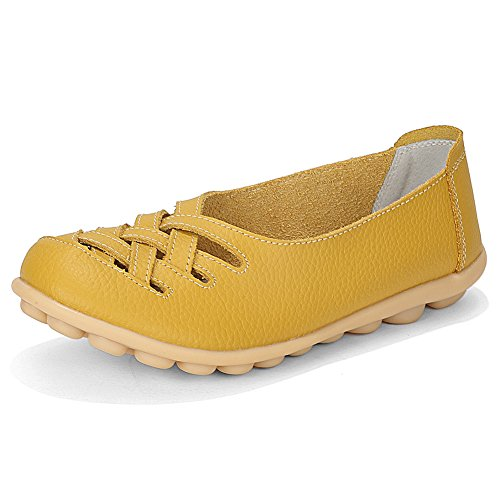 (Women's Cutout Genuine Leather Loafers Casual Moccasin Driving Shoes Indoor Flat Slip-on Slippers Earth Yellow EU43-US Size 10.5)