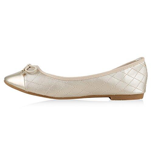 Damen Lack Ballerinas Leder-Optik Slipper Snake Print Ballerina Schuhe Metallic Glitzer Flats Sommerschuhe Strass Übergrößen Flandell Gold Schleife