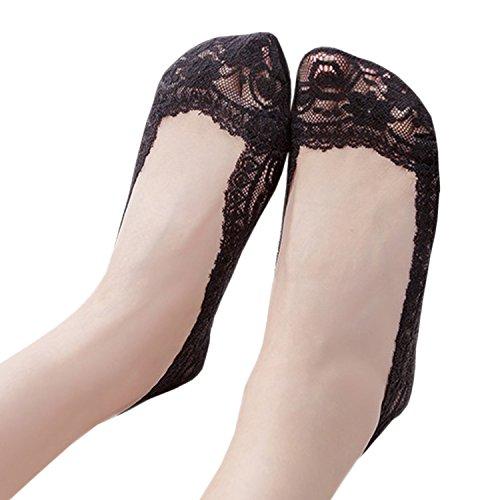 JHosiery barco Mujer 1 Par del Con invisible footsies Acolchada de calcetines zapato Plantilla Negro forro escotado antideslizantes vvwAr