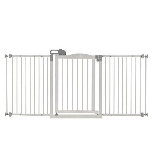 One-Touch Wide Pressure Mounted Pet Gate II White by Richell