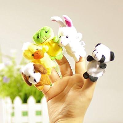 Shaoge 10pcs Cartoon Biological Animal Finger Puppet Plush Toys: Toys & Games