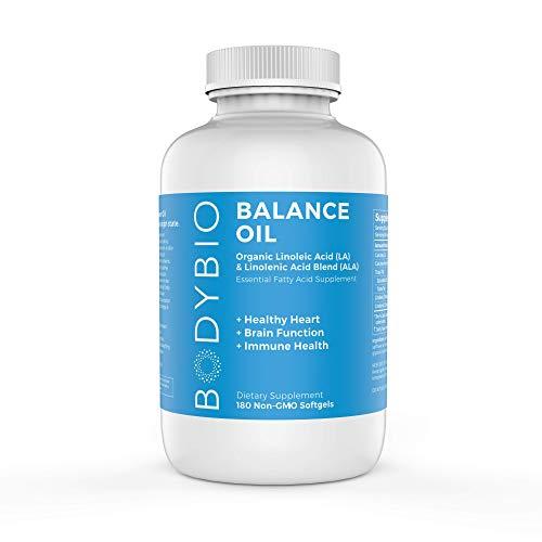 BodyBio Balance Oil, Essential Fatty Acids, Organic Safflower and Flax Seed Oil Blend, 4:1 LA to ALA, 180 Softgels